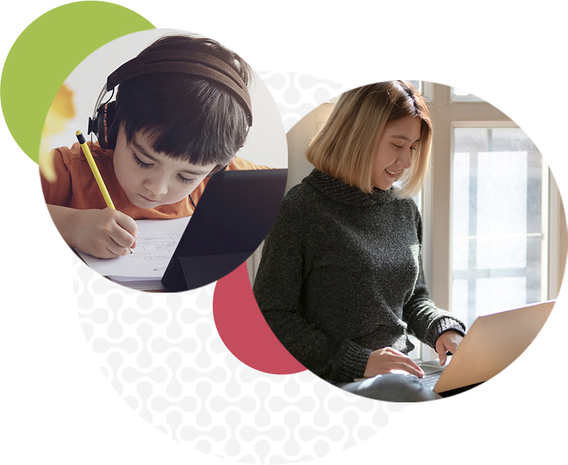 Child & girl with laptops