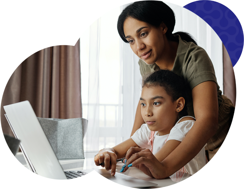 Child and mom with laptop